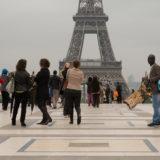 Sellers of tourist tack on Esplanade du Trocadéro.